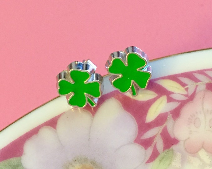 Featured listing image: St Patrick's Day Earrings, Green Shamrock Earrings, Green Clover Earrings, Irish Green Leaf Earrings, Enameled Metal Earrings (SE17)