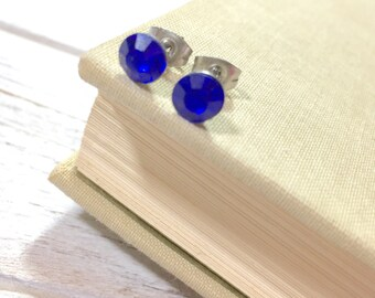 Blue Rhinestone Stud Earrings, Small Blue Rhinestone Studs, September Birthstone Studs, Blue Glass Studs, Surgical Steel Studs (HJ4)