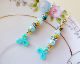 Quirky Dangle Earrings, Beaded Earrings in Aqua Cornflower Blues, Cloisonne Dangle Earrings with Gold Details