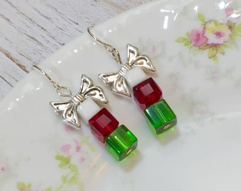 Christmas Earrings, Christmas Gift Earrings, Gift Box Earrings, Red Green and White Boxes Earrings with Silver Bow, Holiday Jewelry (DE2)