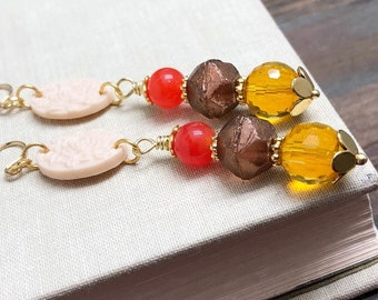 Carved Floral Dangle Earrings with Beaded Drop in  Red, Orange and Brown, Stainless Steel