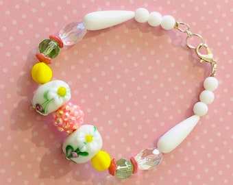 Fanciful Spring Inspired Beaded Bracelet with Floral Lampwork Beads and Vintage Czech Glass Beads in Pink Yellow and White