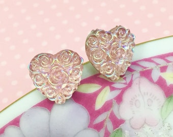 Pink Rose Studs, Pink Heart Studs, Iridescent Heart Stud, Pretty Floral Studs, Stainless Steel Studs, Wedding Earrings (SE4)