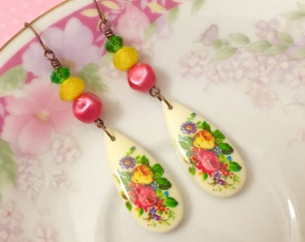 Retro Earrings, Pink Flower Earrings, Vintage Assemblage Earrings, Long Dangle Earrings, Vintage Limoges Earring Yellow Green KreatedByKelly