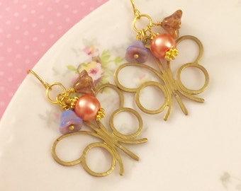Butterfly Earrings, Vintage Brass Butterfly Earrings, Flower Cluster Earrings, Spring Dangle Earrings, Pink Lavender, Bohemian Earrings