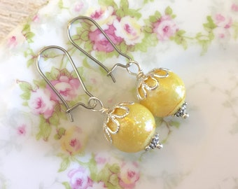 Iridescent Textured Yellow Candy Ball Drop Earrings with Surgical Steel Kidney Ear Wires