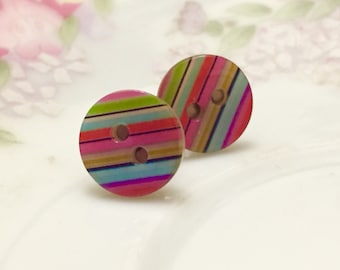 Rainbow Earrings, Small Studs, Sewing Button Post Earrings, Rainbow Striped Mother of Pearl Earrings, Colorful Stud Earrings, KreatedByKelly