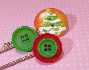 Christmas Hair Accessories, Vibrant Tree Bobby Pin, Vintage Buttons Hair Pins, Holiday Red and Green, KreatedbyKelly