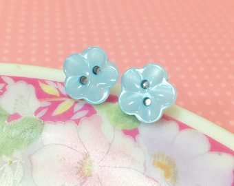 Blue Flower Earrings, Blue Post Earrings, Flower Post Earrings, Pearly Blue Flower Post Earrings Scooped Petals, Button Studs (LB1)