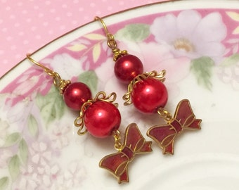 Red Bow Earrings, Vintage Assemblage Earrings, Red Pearl Earrings, Quirky Bow Earrings, Metal Charm Earring, Handmade By KreatedByKelly