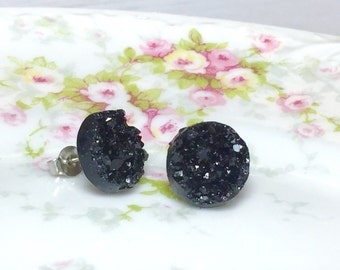 Black Druzy Studs, Celestial Night Studs, Black Stud Earrings, Black Drusy Studs, Druzy Jewelry, Surgical Steel Studs, KreatedByKelly (SE2)