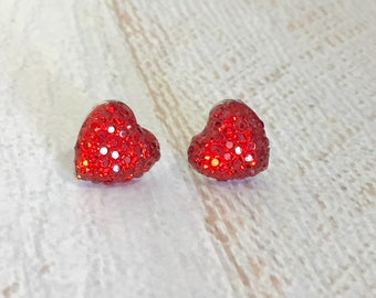 Little Red Sparkling Bumpy Druzy Valentine's Day Heart Stud Earrings with Surgical Steel Posts (SE13)