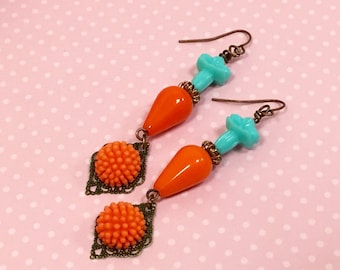Orange Flower Earrings, Turquoise Flower Earrings, Vintage Assemblage Earrings, Long Dangle Earring, Retro Earrings