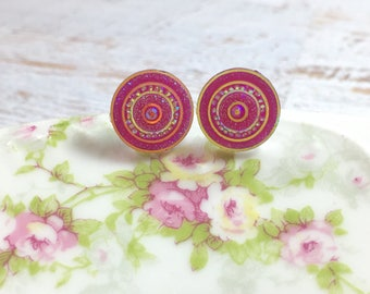 Glittery Shimmering Pink and Gold Bullseye Stud Earrings, Surgical Steel, Rhinestone Druzy Circles, 12mm
