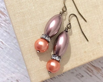 Gorgeous Peach and Brown Glass Pearl and Rhinestone Dangle Earrings with Surgical Steel Ear Wires
