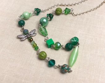 Dragonfly Woodland Beaded Long Layering Necklace in Shades of Green