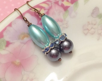Blue Pearl Earrings, Blue Rhinestone Earrings, Blue Pearl Drop Earrings, Blue Dangle Earrings, KreatedByKelly