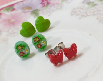 Earring Set, Tiny Red Butterfly Studs, Red Green Floral Cameo Studs, Faceted Green Heart Studs, Stocking Stuffer Idea, Cute Gift Set (ES1)
