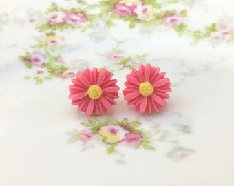 Pink Daisy Studs, Pink Flower Earrings, Pink Daisy Earrings, Pink Flower Studs, Flower Girl Earrings, Bridesmaid Gift Earrings (LB3)