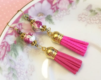 Leather Tassel Earrings, Pink Flower Earrings, Hippie Bohemian Earrings, Ceramic Bead Jewelry, Trendy Tassel Earrings, KreatedByKelly