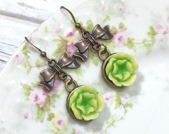 Lime Green Flower Earrings, Antique Brass Bow Earrings, Lolita Earrings, Estate Style Jewelry, Handmade By KreatedByKelly