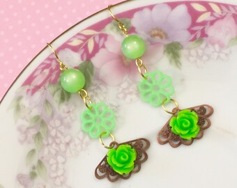 Quirky Dangle Earrings, Vintage Assemblage Earrings, Lime Green Flower Earrings, Moonglow Bead Earrings, KreatedByKelly