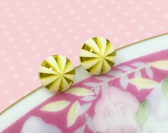 Peppermint Earrings, Tiny Yellow Studs, Yellow Striped Studs, Golden Yellow Studs, Yellow White Studs, Sensitive Ear Studs (SE4)