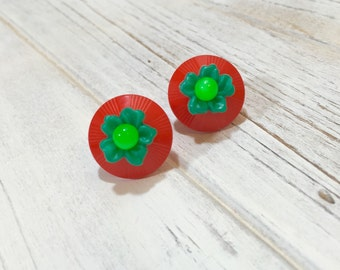 Chunky Earrings, Green Flower Stud Earrings, Christmas Studs, Christmas Earrings, Moonglow Studs, Big Christmas Earrings, KreatedByKelly