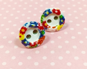 Vintage Button Studs, Colorful Flower Studs, Button Flower Studs, Hippie Bohemian Earrings, Little Floral Earrings, KreatedByKelly