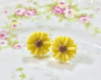 Yellow Flower Earrings, Yellow Daisy Studs,Bridesmaid Gift Earrings, Flower Post Earrings, Surgical Steel, KreatedByKelly (SE8)