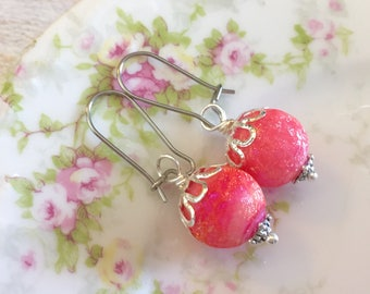 Pink Glass Candy Ball Drop Earrings with Surgical Steel Kidney Ear Wires