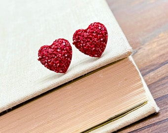 Dark Red Sparkly Faux Druzy Heart Stud Earrings for Valentine's Day, Stainless Steel (SE24)