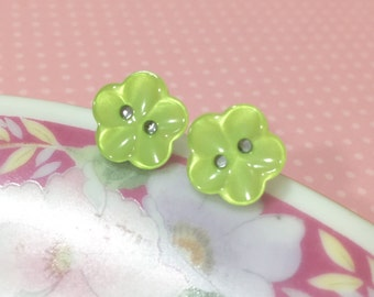 Lime Green Flower Earrings, Green Daisy Studs, Flower Stud Earrings, Pearly Lime Green Stud Earrings Scooped Petals, Button Studs (LB1)