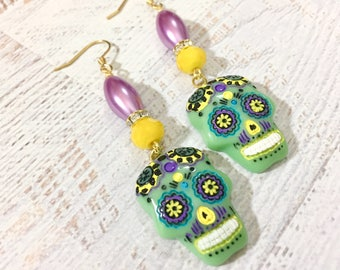 Day of the Dead Sugar Skull Long Beaded Dangle Halloween Earrings in Green Yellow Lavender with Surgical Steel Ear Wires