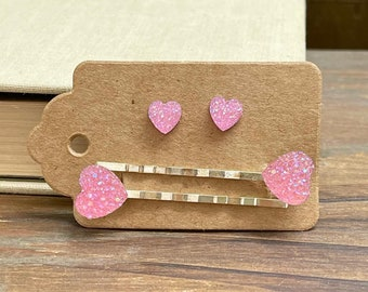 Tiny Light Pink Heart Earrings and Heart Bobby Pin Set for Valentine's Day, Sparkly Faux Druzy Heart Earrings, Stainless Steel