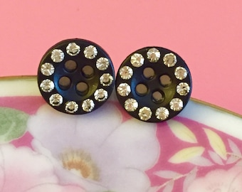 Rhinestone Stud Earrings, Button Stud Earrings, Fancy Button Earrings, Flower Girl Earrings, Alternative Wedding Earrings (LB1)
