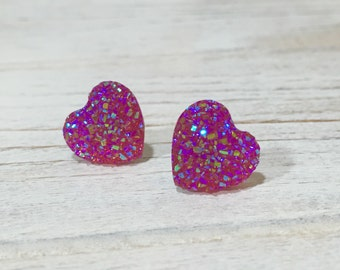 Faux Druzy Heart Studs, Sparkly Fuchsia Earrings, Pink Heart Studs, Valentine's Earrings, Flower Girl Earrings, KreatedByKelly (SE1)
