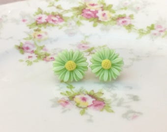 Mint Green Daisy Stud, Resin Flower Earrings, Mint Green Post Earrings, Spring Flowers, Stainless Steel, KreatedByKelly (LB3)