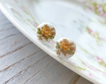 Vintage Limoges Yellow Rose Earrings, Tiny Little Glass Cabochon Post Earrings