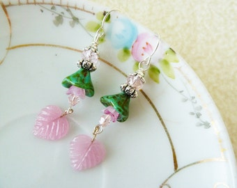 Flower Dangle Earrings, Czech Glass Earrings, Green Flower Earrings, Pink Leaf Earrings, Woodland Fairy Earrings, KreatedByKelly