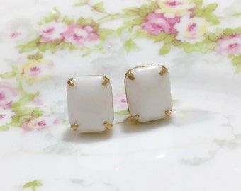 Milk Glass Earrings, Rhinestone Wedding Earrings, Rhinestone Stud Earrings, White Rhinestone Earrings, Vintage Earrings, (SE22)