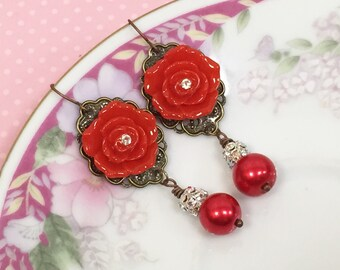 Estate Style Red Rhinestone Flower Drop Statement Earrings with Pearl and Filigree KreatedbyKelly