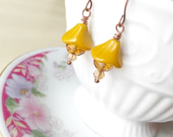Yellow Flower Earrings, Dangle Earrings Made with Czech Glass Flowers in Mustard Yellow with Faceted Beads and Copper, KreatedByKelly