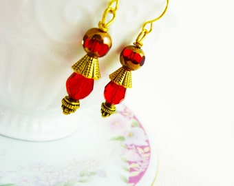Gold Tribal Earrings, Short Dangle Earrings, Red Glass Earrings, Affordable Jewelry, Surgical Steel Earrings, Handmade By KreatedByKelly