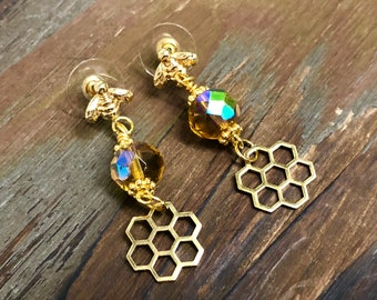 Honey Bee Earrings with Iridescent Yellow Beads and Raw Brass Honeycomb, 18k Gold Plated Stainless Steel Ear Studs