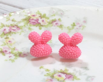 Pink Bunny Stud Earrings, Puffy Rabbit Stud Earrings, Sparkling Bunny Earring, Chubby Bunny Studs, Kawaii Easter Studs (SE1)