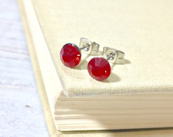Red Rhinestone Stud Earrings, Small Red Rhinestone Studs, July Birthstone Studs, Red Glass Studs, Red Earrings, Surgical Steel Studs (HJ4)