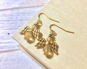 Dainty Angel Earrings, Gold Angel Earrings, Glass Beaded Angel Earrings with Tibetan Gold Wings, Tiny Angel Earrings, Surgical Steel