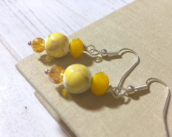 Yellow Flower Earrings, Sunshine Yellow Earrings, Floral Ceramic Bead Earrings, Yellow Beaded Earrings, Handmade by KreatedByKelly