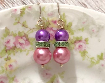 Spring Pink and Lavender Glass Pearl Earrings with Minty Green Rhinestone and Surgical Steel Ear Wires, Perfect for Easter